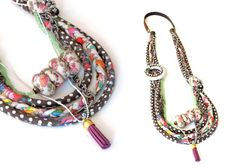 Multi Strand fabric Necklace, This Eye-catching piece is a fantastic unique necklace that is made of colorful print fabric. The cords are sewn and fitted