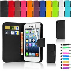 Flip Wallet Leather Case Cover For Apple iPod Touch 5 5Th GEN + Screen Protector