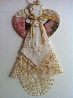 Shabby Chic Angel Ornament by sweetjeanette on Etsy, $10.00