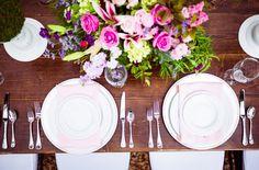 Pink and purple rose wedding centerpiece