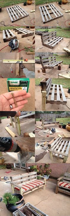 Turn a Pallet into an Outdoor Patio Bench