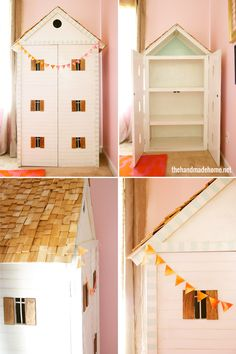Dollhouse with doors. I want to make one of these one day, though I would probably start with an IKEA Billy 31' bookcase.