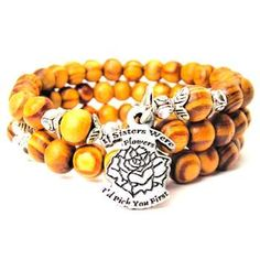 NATURAL WOOD WRAP BANGLE IF SISTERS WERE FLOWERS ID PICK YOU FIRST BRACELET - See more at: http://www.chubbychicocharms.com #Love #Family #Quotes #Trendy