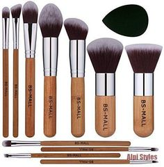 BS-MALL Bamboo Silver Premium Synthetic Kabuki Makeup Brush Set Cosmetics Foundation Blending Blush Face Powder Brush Makeup Brush Kit Plus Black Teardrop Makeup Blender Sponges - new_makeup_pintennium Bronzer Makeup, Concealer, Sephora Makeup, Basic Makeup, Diy Makeup, Makeup Tools, Makeup Products, Beauty Makeup, Face Makeup