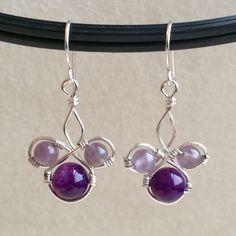 Amethyst Earrings Wire Wrapped Earrings Purple Earrings by Kodji, $16.50