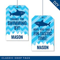 Shark Party  Personalized DIY printable favor tags by Chickabug, $9.00