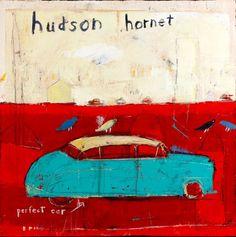 Hudson Hornet by mary scrimgeour - oil painting Outsider Art, Whimsical Art, Coups, Medium Art, Dog Art, Mixed Media Art, Graphic Illustration, Hudson Hornet, Fine Art