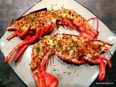 """LOBSTER THERMIDOR: ~ From: """"Kalofagas.ca"""" - Greek Food and Beyond. Recipe Courtesy of Peter Minakis. ~ f you've been to a seafood tavern or even a steak house that offers some fish and seafood on the side, then you may have had lobster thermidor. It's a French classic where you boil the lobster, cut in half, remove the lobster meat, chop up and mix into an herbed bechamel with a hint of cheese. Top with breadcrumbs and bake on high heat until the top is golden brown and crisp."""