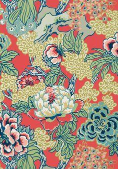 VINTAGE  CHINOISERIE COTTON VELVET FABRIC ASIAN DESIGN YELLOW 4 YDS AVAILBLE