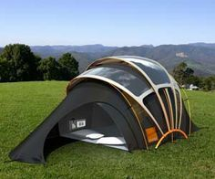 Solar Camping Tent Concept      Solar Camping Tent Concept  This solar powered concept tent weaves specially coated solar threads into normal fabric. The three gliding roof panels then move throughout the day to maximize solar efficiency. Too bad you can't buy it since this would be the ultimate in luxury camping gear!