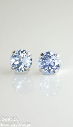 Swarovski light sapphire crystal stud earrings | blue crystal earrings | blue bridesmaid earrings | sapphire wedding | sapphire | www.endorajewellery.etsy.com