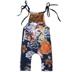 Baby Girl Floral Tassel Sleeveless Full Body Romper
