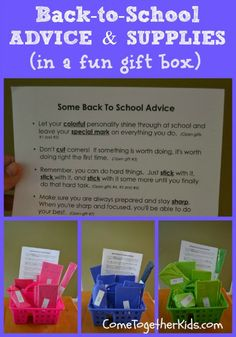Cute & Practical Back-to-School Gift for Kids ~ let the kids open wrapped school supplies that go along with some great words of wisdom