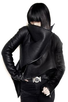 Gareth Pugh Jacket, straight fringe! Love the lines the shadows and reflection of lighting!