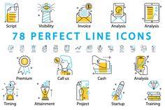 78 PERFECT LINE ICONS | Design Bundles
