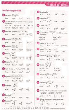 Definición: La teoría de exponentes estudia las diversas relaciones existentes entre todas las clases de exponentes, mediante leyes. La t...