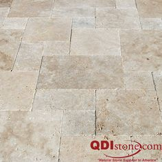 Travertine pavers are pretty popular in the french pattern as you can see in this photo. It is a four size pattern that has and It gives the pattern people want without the contractor having to cut each piece. Patio Tiles, Outdoor Tiles, Outdoor Flooring, Stone Flooring, Kitchen Flooring, Pavers Patio, Flooring Ideas, Back Patio, Backyard Patio