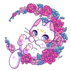 Cute Anime Cat, Cute Anime Chibi, Kawaii Chibi, Kawaii Cat, Kawaii Anime Girl, Cute Kawaii Animals, Cute Animal Drawings Kawaii, Cute Drawings, Wallpaper Kawaii