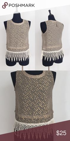 ⭐️LIKE NEW⭐️ ASTR GOLD SHIMMER & CROCHET TOP Top has been gently worn but in perfect like new condition. The bust measurement is approximately 18.5 inches across and the length is approximately 24 inches. The fabric content is 86% polyester and 14% metallic. ASTR Tops Tank Tops