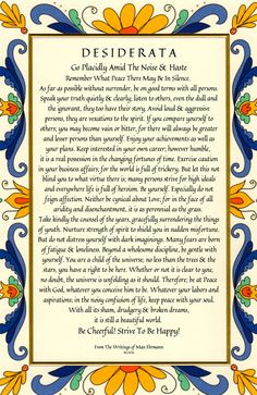 Desiderata Poem 11 X 17 28x43cm Art Card by DesiderataGallery                                                                                                                                                                                 More