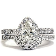 Swirl Pear Shaped and Round Diamond Wedding Set with Pave Setting ...