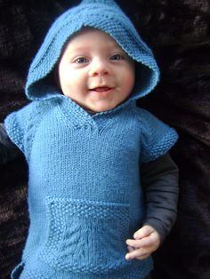Knitted hood sleeveless vest for wee little ones to about 10 yo's. Girlies or boys. Love it.