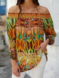 Off Shoulder Blouses Plus Size Long Sleeve Printed Shirts - Fashion - Womens - Women's Clothing - T-Shirts - #fashion #clothing #blouse Cute Blouses, Plus Size Blouses, Blouses For Women, Printed Shirts, Off Shoulder Blouse, Shirt Style, Women's Clothing, Long Sleeve, Womens Fashion
