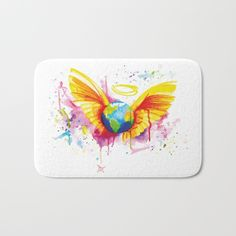 Angel - Painted By Buttafly ( Vanessa Brünsing ) Bath mats exclusively on Society6   DESCRIPTION The perfect bath mats: fuzzy, foamy and finely enhanced with brilliant art. With a soft, quick-dry microfiber surface, memory foam cushion and skid-proof backing, our shower mats are a cut above your typical rug. Keep them clean with a gentle machine wash (no bleach!) and make sure to hang dry.