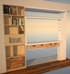Mueble divisor living/cocina. Vista desde el living.