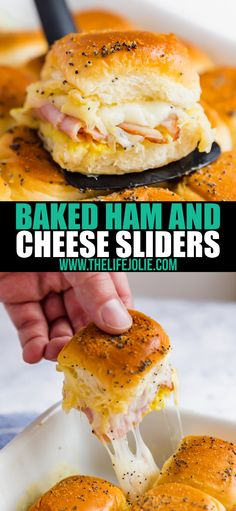 Make these easy Baked Ham and Cheese Sliders for your next party and watch as your friends fight for seconds! Made with ham, Swiss cheese, Hawaiian rolls and honey mustard sauce, these are sure to be a hit at a party or game day gathering! Ham And Cheese Sliders Hawaiian, Ham Cheese Sliders, Sandwiches With Hawaiian Rolls, Recipes With Hawaiian Rolls, Sliders Burger, Ham And Swiss Sliders, Cheese Burger, Cheese Appetizers, Appetizer Recipes