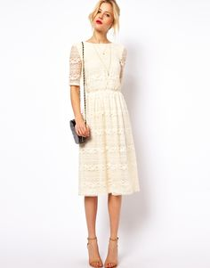 ASOS | ASOS Midi Dress In Lace With Wrap Back at ASOS