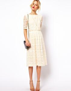 ASOS   ASOS Midi Dress In Lace With Wrap Back at ASOS