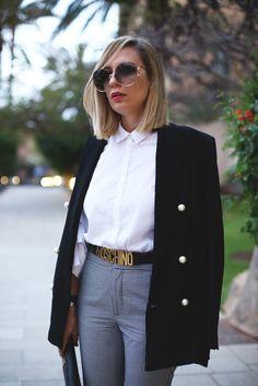 Pantalón vichy con borlas + Maxi blazer! Look completo en el blog: http://www.myshowroomblog.es/fashion/pantalon-vichy-con-borlas/