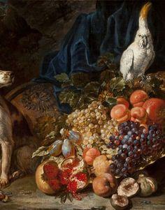 David de Coninck: Pronkstilleven met hond en papegaai. 2e helft 17e eeuw. Museum Bredius, Den Haag. De opstapeling van luxe vruchten, fraai bewerkt zilver en exotische vogels, samen met een hond, is typerend voor het Vlaamse stilleven van de tweede helft van de 17e eeuw.