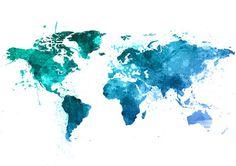 Welt Karte Aquarell Druck/Poster Wandkunst von SquidFold auf Etsy