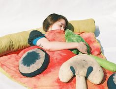 Slice of Pizza Sleeping Bag w/ Veggie Pillows: always dreaming of pizza