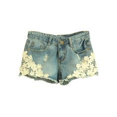 Lace Flower Distressed Demin Shorts ($42) ❤ liked on Polyvore featuring shorts, retro shorts, lacy shorts, ripped shorts, lace pocket shorts and torn shorts