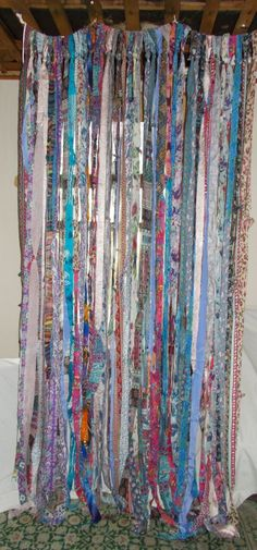 Gypsy Hippie Garland Banner Curtain Backdrop Room Divider Teen Bedroom Upcycled Rag Re-Purpose BOHO Gypsy Hippie Garland Banner Curtain by TheLaurelCottageBOHO Gypsy Hippie Garland Banner Curtain by TheLaurelCottage Bohemian Curtains, Beaded Curtains, Diy Curtains, Nursery Curtains, Velvet Curtains, Roman Curtains, Luxury Curtains, Elegant Curtains, Vintage Curtains