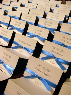 Wedding Place Cards - but with brown ribbon instead. Reception Ideas, Wedding Reception, Our Wedding, Dream Wedding, Wedding Ideas, Wedding Place Cards, Red Ribbon, Twine, Shower Ideas