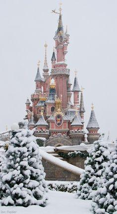 Snowy Disneyland in Paris, France