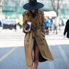 trench coat bege chapeu street style inverno
