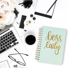Boss Lady Mint Spiral Notebook-Notebooks-Sweet Water Decor-Sweet Water Decor-Motivational-Chic-Rustic-Home-Office-Decor-Hand-Lettered-Wholesale Pink Office Decor, Mint Office, Desk Office, Creative Kids Rooms, Flat Lay Photography, Coffee Photography, Photo Instagram, Lettering Design, Hand Lettering