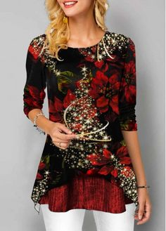 New Arrival | Liligal.com Stylish Tops For Women, Trendy Tops For Women, Christmas Tops, Christmas Print, Christmas Jumpers, Black Christmas, Christmas Decor, Xmas, Christmas Day Outfit
