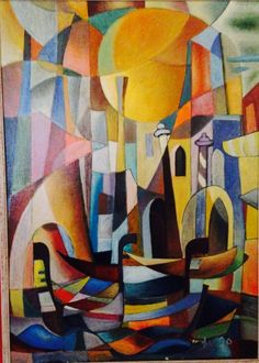 """Diego Voci™ #DIEGOVOCI'S AMAZING VERSATILITY. The Diego Voci Project just received a cubistic portrayal of Venice from Diego collectors The Morton's after waiting 40 years to find them again. The Diego Voci Project has seen many exceptional cubist interpretations by Diego and """"Gondole"""" ranks at or near the top."""