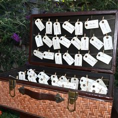 Luggage label escort cards, perfect for a travel or vintage themed wedding http://www.toptableplanner.com/blog/suitcases-and-trunks
