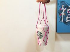 [Handmade] Carrying Cup Eco Bag [Lilliant Line - Pink Spring Cherry Blossom] Only 5 Pieces - Guzili - Beverage Holders & Bags Drink Holder, Travel Mugs, Creative Gifts, Plant Hanger, Cherry Blossom, Hand Knitting, Pink, Handmade, Crafts