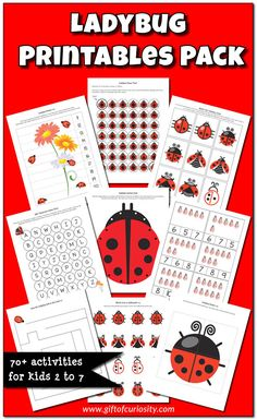 Ladybug Printables Pack with more than 70 ladybug activities for kids! - Gift of Curiosity Free Kindergarten Worksheets, Free Preschool, Preschool Activities, Preschool Kindergarten, Educational Activities, Insect Activities, Spring Activities, Grouchy Ladybug, Ladybug Crafts