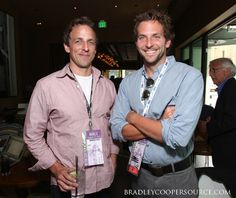 Seth Meyers and Bradley Cooper. Phillips-Barton Temme: The abundance of blue eyes in this picture is really hot. Lisa Phillips, Seth Meyers, Celebrity Portraits, Bradley Cooper, Celebs, Celebrities, Man Crush, Hot Boys, Cute Guys