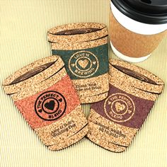 Wedding Favor Coasters, Personalized Coffee Cup Shaped Cork Coaster, Cork Coaster Wedding Favors - Set of 12 Edible Favors, Wedding Shower Favors, Personalized Coasters, Cork Coasters, Bar Set, Bridal Gifts, Coaster Set, Coffee Cups, Straw Bag
