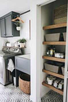 Creating a Beautiful and Efficient Laundry Room – Within the Grove – Home Diy Organizations Mudroom Laundry Room, Laundry Room Layouts, Laundry Room Remodel, Farmhouse Laundry Room, Laundry Room Design, Laundry In Bathroom, Small Laundry Rooms, Laundry Room Organization, Shelving In Laundry Room